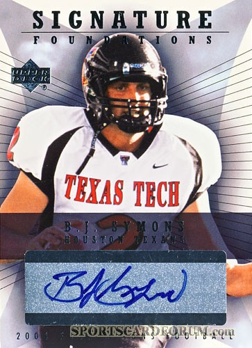 2004 Upper Deck Foundations Signature Foundations #SFBJ B.J. Symons - qty: 1 - BV: N/A - Owned by: cpalmerfan